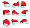 Vector clipart: set of hats for Santa