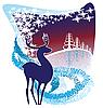 winter background with deer
