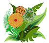 Vector clipart: Bouquet of tropical flowers
