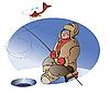 Векторный клипарт: Рыбак на озере зимой