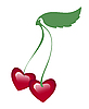 Vector clipart: Two hearts on common twig
