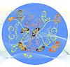 Vektor Cliparts: Blumen und Schmetterlinge auf dem blauen Hintergrund