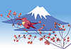 Vector clipart: Bird on background of Mount Fuji