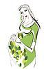 Portrait of pregnant woman | Stock Illustration