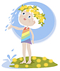 Little Girl and summer rain