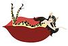 Векторный клипарт: Девушка в костюме с леопардовым принтом