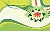 Векторный клипарт: зеленая открытка с цветком лотоса