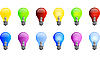 Vector clipart: Colored light bulbs