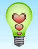 Vector clipart: Light bulb with hearts