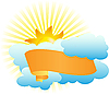 Vector clipart: ribbon in the clouds and sun
