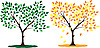 Vector clipart: summer and autumn trees