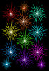 Photo 300 DPI: set of colored fireworks