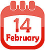 Vector clipart: calendar icon for valentine`s day