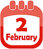 Vector clipart: Icon February 2 calendar