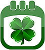 Vector clipart: icon St Patrick`s Day in calendar with quarterfoil
