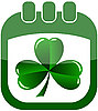 icon St Patrick`s Day in calendar with shamrock