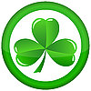 Vector clipart: round icon with shamrock