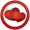 Vector clipart: round icon with hearts
