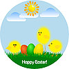 Vector clipart: greeting card with happy Easter