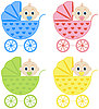 Vector clipart: Collection baby carriages
