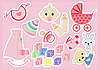 Vector clipart: baby girl items