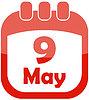 Vector clipart: Icon May 9 calendar