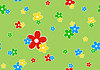 Vector clipart: Seamless pattern flowers on green background