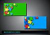 Векторный клипарт: визитные карточки с цветной цветы