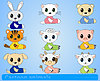 Vector clipart: set of cartoon animals on blue background