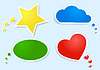 Vector clipart: colored clouds and bubbles