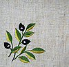 Photo 300 DPI: Embroidery of olive branch on linen fabric