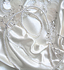 White pearls and nacreous beeds silk as wedding backgro | Stock Foto