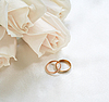 Photo 300 DPI: Wedding rings and roses as background