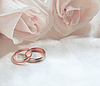 Wedding rings and roses as background | Stock Foto