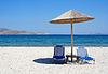 ID 3237144 | Greece. Kos island. Two chairs and umbrella on beach | High resolution stock photo | CLIPARTO