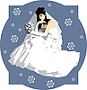 Vector clipart: bride with bouquet of flowers