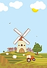 Vector clipart: Rural landscape with tractor in the field