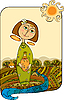 Vector clipart: girl with jug in the fields near river