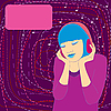 Mädchen in Kopfhörern | Stock Vektrografik
