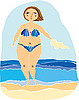 Vector clipart: girl on beach