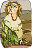 Vector clipart: girl in folk costume in rural landscape