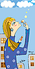 Vector clipart: girl in city with soap bubbles