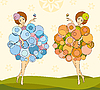 Vector clipart: girls twin sisters