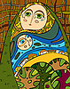 Vector clipart: abstract allegory of nature mother with kid