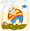 Vector clipart: boy and toy car