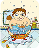 Vector clipart: boy in bathroom