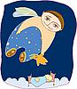 Vector clipart: boy flies in dreams