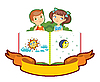 Vector clipart: boy and girl with book