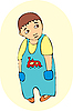 little boy in blue overalls