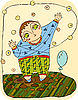 Vector clipart: boy plays with air balloon